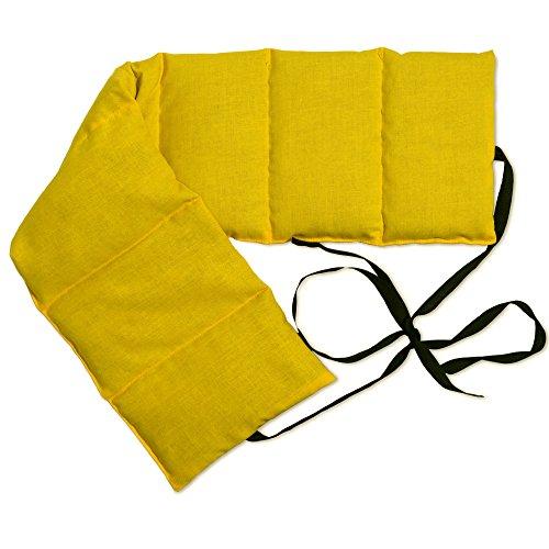 Cojín térmico para la espalda con siete compartimientos y cintas - 65x15 cm mango - Faja térmica caliente y frío con semillas - Para microondas y horno - Pepitas de uva