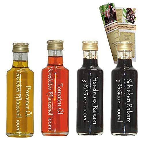 Öl/Essig Geschenkset & Probierset | 2 x 100ml Essig + 2 x 100ml Öl | Tomaten Öl - Provence Öl - Haselnuss Balsam - Schlehen Balsam | mit Rezeptbroschüre