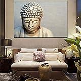 SADHAF Cartel moderno de talla de piedra y lienzo de arte de pared lienzo Estatua de Buda decoración imagen para sala de estar decoración del hogar A4 60x80cm