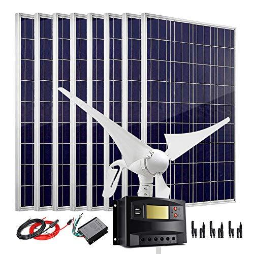 Kit generador de turbina de viento de panel solar de 1200 W...