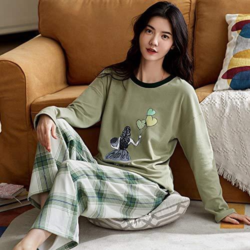 ZXXFR Damen Schlafanzug Zweiteilige Rundhalsausschnitt mit Baumwolldruck, süße...