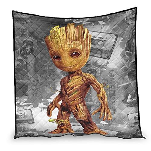 YshChemiy Baby Groot Guardians of the Galaxy Star Wars - Colcha de algodón gigante para sofá cama, manta cómoda para niños y niñas, 150 x 200 cm, color blanco