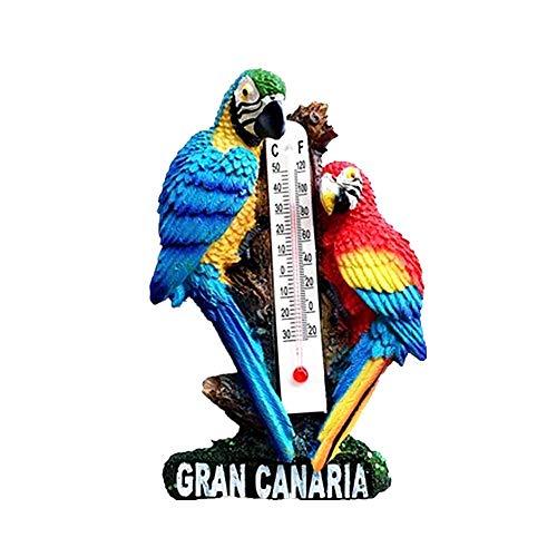 Time Traveler Go Souvenir Gran Canaria Spagna Animal Parrot Termometro Frigorifero Magnete Regalo 3D...
