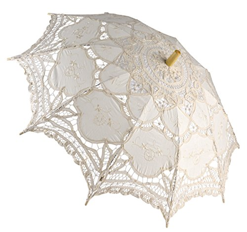 Outgeek Lace Umbrella, Auto Open Retro Embroidered Parasol Wedding Accessories for Bridal