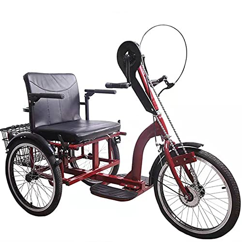 Triciclo para adultos bicicleta Bicicletas De 3 Ruedas Con Marco De Acero De Alto Carbono Triciclo Adulto Con Cesta De Compras Y Canasta Del Respaldo Del Asiento, Triciclo De Manivela Para Los Anciano