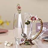 Taza de cristal de esmalte de alto grado, taza de té de café, tazas de té de flores rojas, resistente al calor, juego con cuchara de acero inoxidable, taza de cristal (color: 04)