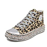 JITUUEWomens Sexy Leopard Printing High Top Canvas Sneaker Rhinestone Shiny Lace-up Flat Shoes Rivets Embellished Flats Shiny Platform Leisure Low Sneakers(Leopard H,8.5