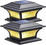 Siedinlar Luz de Tapa de Poste Solar Luces Exterior Jardin Luz LED 2 Modos Vidrio Impermeable para Jardín Valla Terraza 4x4 5x5 6x6 pulgadas Postes de madera (2 Piezas)