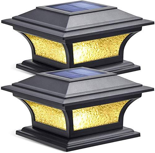 Siedinlar Solarleuchten für Außen mit Glas 2 Modi LED Lampe Solarleuchten Garten Solar Pfostenleuchte Wasserdicht Gartendeko für Garten Terrasse Zaun 4x4 5x5 6x6 Hölzerne Pfäle (2 Stück)