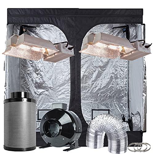 "TopoGrow Hydroponics Growing Light Kit System 96""X48""X80"" Indoor Grow Tent+2X 630W CMH Light Kit Fixtures W Bulbs+8"" Fan Filter Combo (630W CMH Enclosed Kit)"