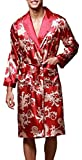 Edith qi Homme Kimono en Soie Robe de Chambre Peignoir de Bain, Vêtement de Nuit,...