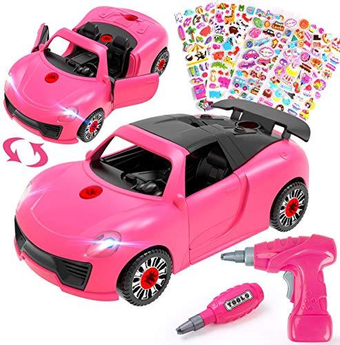 REMOKING Kinder Auto Spielzeug, Montage Spielzeug Auto mit Werkzeug, Spielzeugautos mit Ton & Licht, Spielzeugauto für Kinder ab 3 Jahre