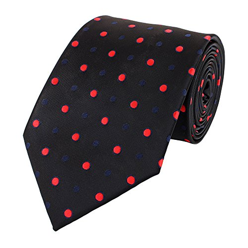 Fabio Farini Unieke zwarte stropdas van 8 cm, rood-blauw gestippeld bruiloft, gala, pak, smoking