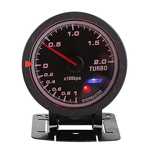 Compteur de Pression de Poussée de Turbo, Keenso Mètre de Poussée de Jauge de Turbo de 60mm LED Presse de Vide de Coquille de Poussée Universel pour Voiture 0-200 Kpa