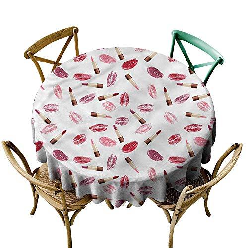 familytaste cosmetica, tafel decoratie benodigdheden lippenstift Kus make-up ronde tafelkleed