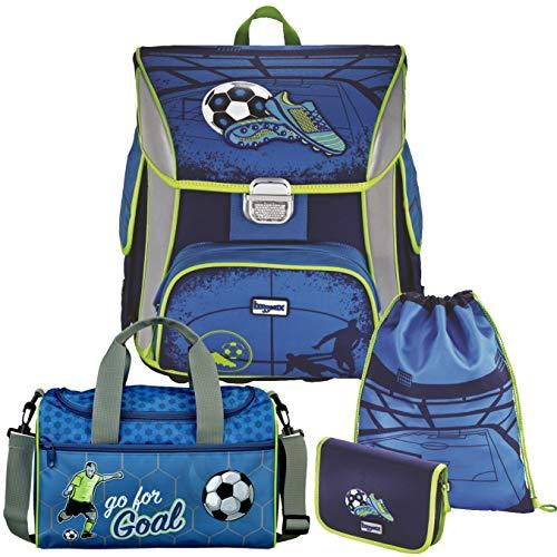 Soccer Blue - Fußball Football - BAGGYMAX SIMY Leicht-Schulranzen-Set 4tlg. Hama mit SCHULSPORTTASCHE