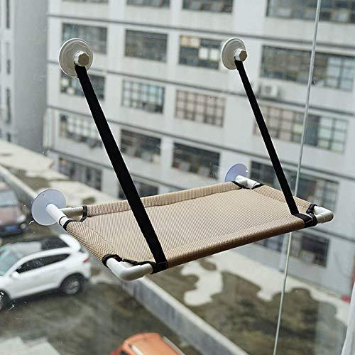 YLKCU Fensterplätze für Katzen Bequemes zweischichtiges Hängemattenbett, Katzenbett, Fensterbank-Sitzbank mit Saugnäpfen, leicht zu reinigen, grau