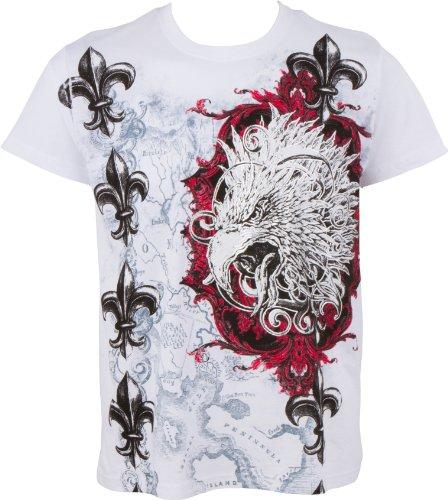 Sakkas Tête d'aigle et Fleur de Lys en Relief Argent métallique Manches Courtes Col Rond Coton T-Shirt Fashion Homme- White/XX-Large