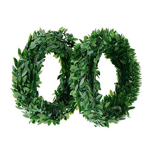 yyuezhi Guirnalda Simulacion Alambre Verde Hoja Lvy Garland Follaje Hojas Verdes Guirnalda Colgante Primavera con Guirnalda Verde Decoración de Corona de Simulación Navideña 7.5 Metros 2 Piezas