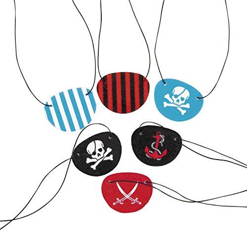cama24com Piraten-Party Augenklappen bunt 12 Stück Mitgebsel Gastgeschenke Palandi®