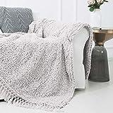 SEDONA HOUSE Back Printing Sherpa Throw Blanket with Tassels (Light Tan)