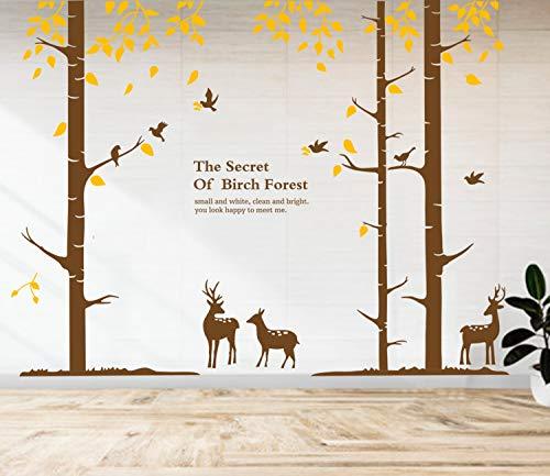 JoyTplay Wandtattoo Birkenstämme Vögel 290 x 200 cm I Wandaufkleber Babyzimmer Wald-Tiere I Deko Wandsticker für Kinderzimmer Schlafzimmer Wanddeko(Braun Gelb)