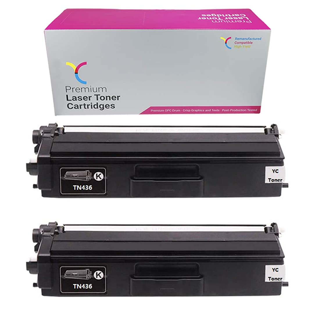 YC Toner 2 Pack Compatible TN436BK Toner Cartridges Replacement for Brother TN436 Black HL-L8360 MFC-L9570 MFC-L9570 HL-L8360 MFC-L8900 HL-L9310 HL-L9310 (High Yield, B B, 2-Pack)