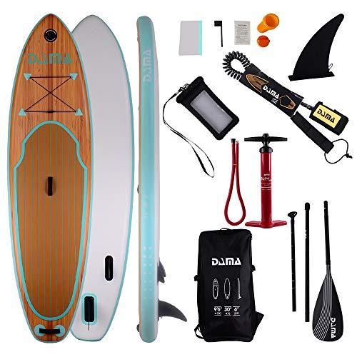 DAMA - Tabla Hinchable para Surf de Remo (3357615), Aleta, Bolsa de Transporte,...