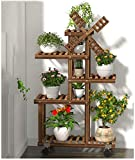 Windmill Wood Plant Stands Indoor Outdoor Plant Shelf 5 Tiered 9 Flower Pot Stand Holder Multi Tier Flower Display Rack Shelves with Wheel for Patio Garden Corner Balcony Living Room