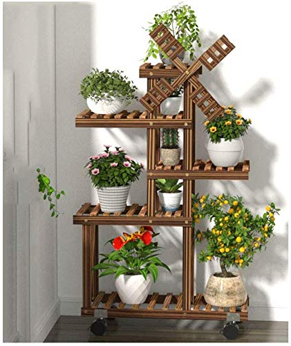 Windmill Multi Tier Wood Rack for Plant Pots