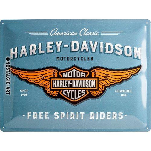 Nostalgic-Art Harley-Davidson – Logo Blue – Geschenk-Idee für Motorrad-Fans, Retro Blechschild, aus Metall, Vintage-Design zur Dekoration, 30 x 40 cm