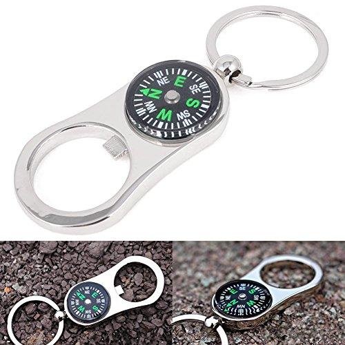 Dairyshop Schlüsselanhänger mit Kompass, Camping, Wandern, Militär, Outdoor-Gerät, Kneipe, Flaschenöffner