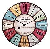 Wohnling WL1.231 Old Town - Reloj de pared (60cm, números grandes, 2 manecillas), diseño vintage