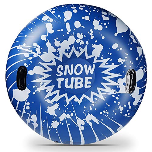 Glintoper Winter Snow Tube for Sledding, Inflatable Snow Sled for Kids and Adults, 41.5 Inch Heavy Duty Snow Tubes with Strong Handles, Wear-Resistant Material & Thickening Freeze-Proof