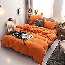 Chanyuan Zirvehome - Juego de ropa de cama (220 x 240 cm, 100% microfibra suave y agradable para dormir, 1 funda nórdica de 220 x 240 cm y 2 fundas de almohada de 80 x 80 cm), color naranja