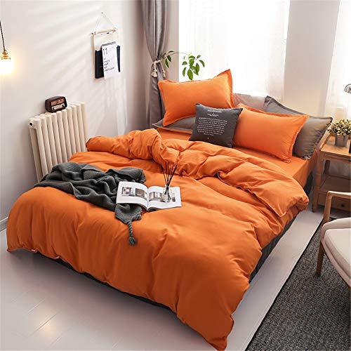 Chanyuan Juego de ropa de cama de 2 piezas, funda nórdica de 135 x 200 cm con funda de almohada de 80 x 80 cm, color naranja, de microfibra 100%