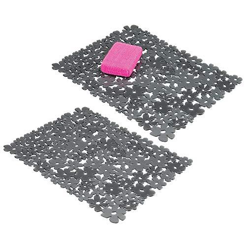 mDesign 2er-Set Spülbeckeneinlage zum Zuschneiden – große Spülbeckenmatte für die Küche – zuschneidbare Matte aus PVC für Geschirr und Becken – mit Blumenmuster – schiefergrau