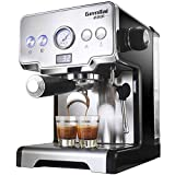 Cafetera Express Manual Power Espresso 1450W, Presión 15Bares, Depósito De 1,5L, Brazo Doble Salida, Vaporizador, Superficie Calientatazas, Acabados En Acero Inoxidable