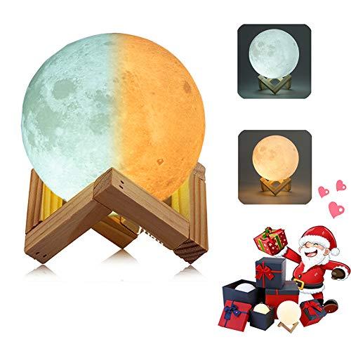 Preisvergleich Produktbild 3D Mond Lampe Nachtlampe,  Farbwechsel durch Berührung,  USB Wiederaufladbar,  Mondlicht,  Nacht Licht,  mit Hölzernem Standfuß,  für Freunde, Weihnachten,  Geburtstag,  Kinder,  Schlafzimmer (10 cm / 3.9 in)