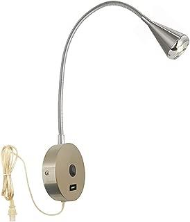 HomeFocus USB LED Bedside Reading Wall Lamp Light,Living Room Wall Lamp Light,Corridor Wall Lamp, Wall Sconces,LED 4.2-5Watt 3000K,USB Charging Port,Flexible Gooseneck, Metal, Satin Nickel