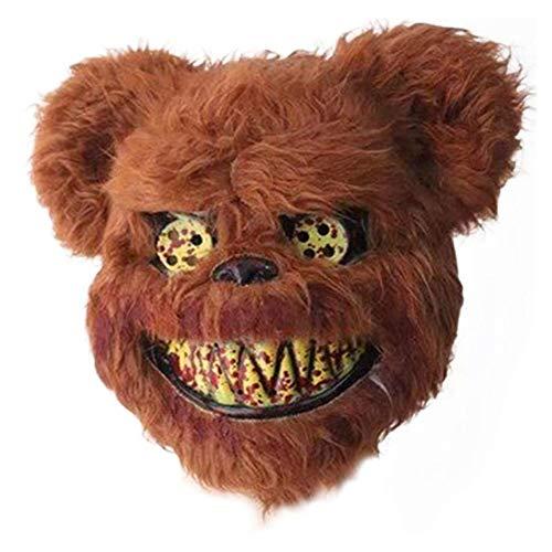 LZRDZSWCW Halloween Horror Tiermaske, Bären-Masken-Halloween-Maske, Scary blutiger Tier Prank Plüsch Maske, Maskerade Cosplay Schablone Karnevalsmaske, gruselig (Color : Brown)