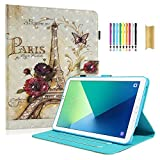 Dteck Galaxy Tab A 10.1 SM-T580 Case - PU Leather [3D Print] Auto Sleep/Wake Flip Stand Case with [Card Slot] Magnetic Smart Cover for Tab A 10.1 SM-T580/T585/T587 (NO S Pen Version), Paris Tower