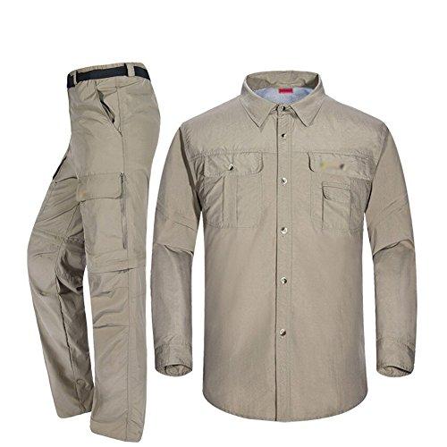 Baymate Homme Outdoor Sport Trekking Convertible Chemise et Pantalon Kaki E34