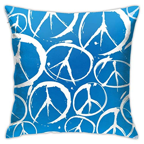 WAZHIJIA Blue Wheel Wood Pillow Covers Decorative Square Pillowcase Soft Solid Cushion Case for Sofa Bedroom Car 18 X 18 Inch