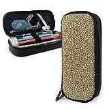 Estuche portátil de leopardo Estuche de bolígrafo de cuero lindo Organizador de escritorio con cremallera Porta bolígrafo de gran capacidad