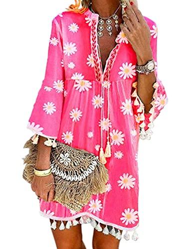 Abito da donna con stampa margherita, con scollo a V, maniche a 3/4, abito boho, con nappe, taglie forti, tunica da donna, rosa, L