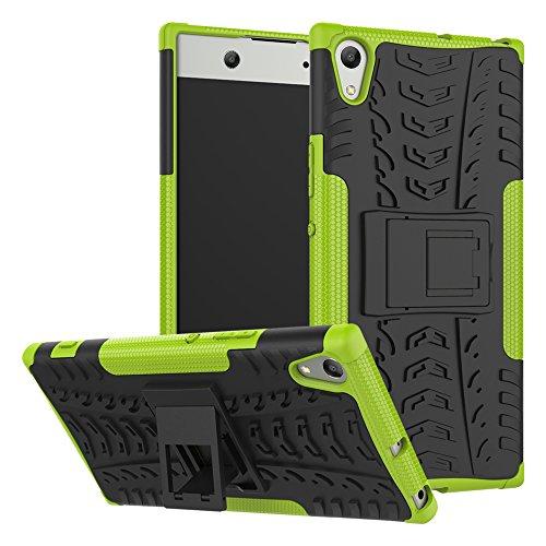 HongMan Handyhülle Kompatibel mit Sony Xperia XA1 Ultra Hülle, Outdoor Handy Tasche Dual Layer Hybrid Hülle Stoßfest Schutzhülle mit Ständer, TPU Silikon + Hard PC Cover Bumper, Grün