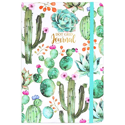 Dotted Grid Notebook/Journal - Dot Grid Hard Cover Notebook, Premium Thick Paper with Fine Inner Pocket, 5''×8.25'', Cactus Pattern