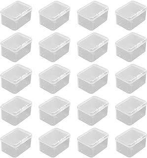 Petite Boite Plastique, 20 Pièces Carrées en Plastique Transparente, Petite Boîte de Rangement, Boîte de Conteneurs de Sto...
