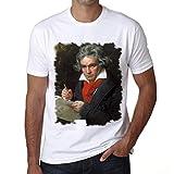 Beethoven, Camiseta para Las Hombres, Manga Corta, Cuello Redondo, Blanco